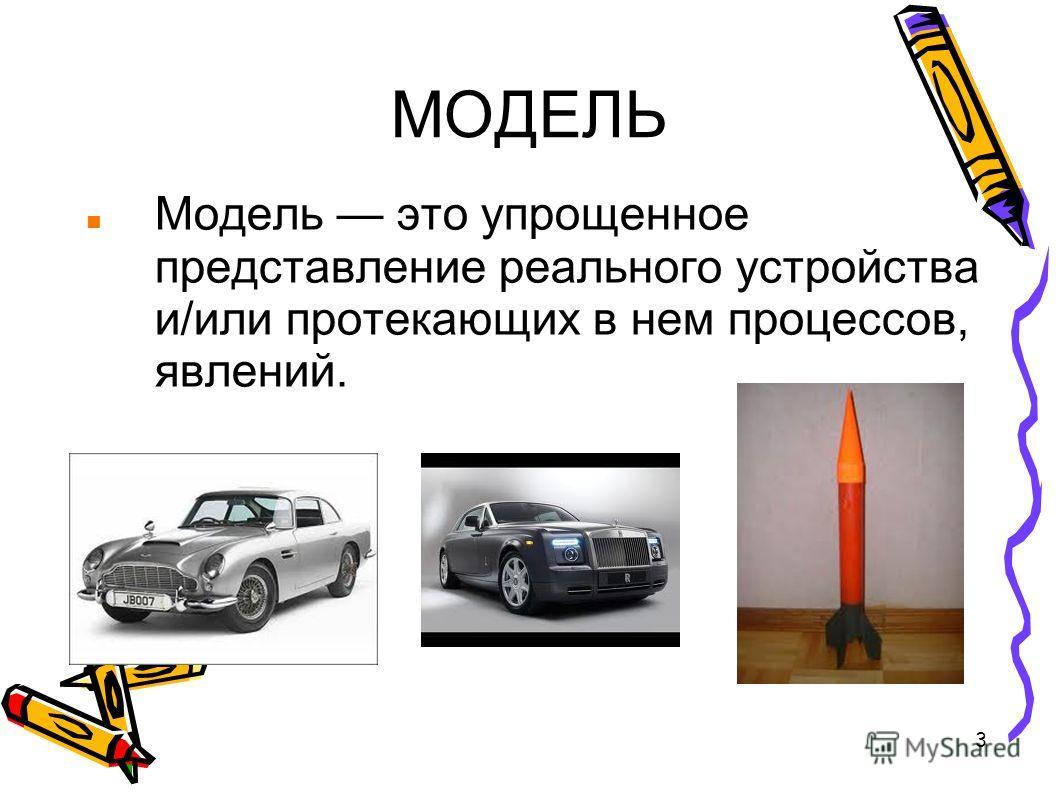 3 МОДЕЛЬ Модель это упрощенное представление реального устройства и/или протекающих в нем процессов, явлений.