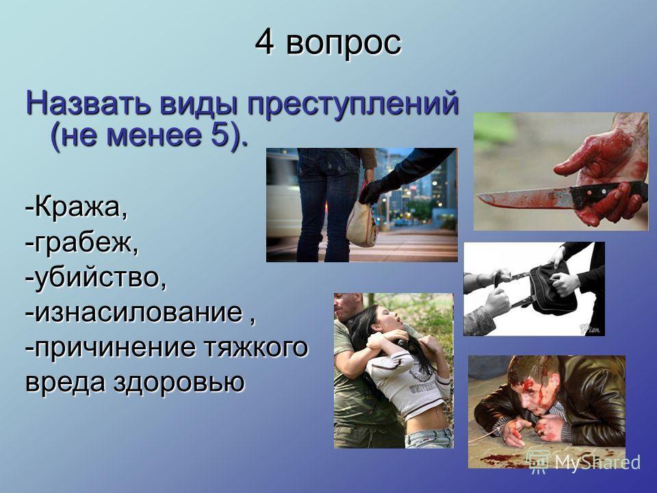 4 вопрос Назвать виды преступлений (не менее 5). -Кража, -грабеж, -убийство, -изнасилование, -причинение тяжкого вреда здоровью