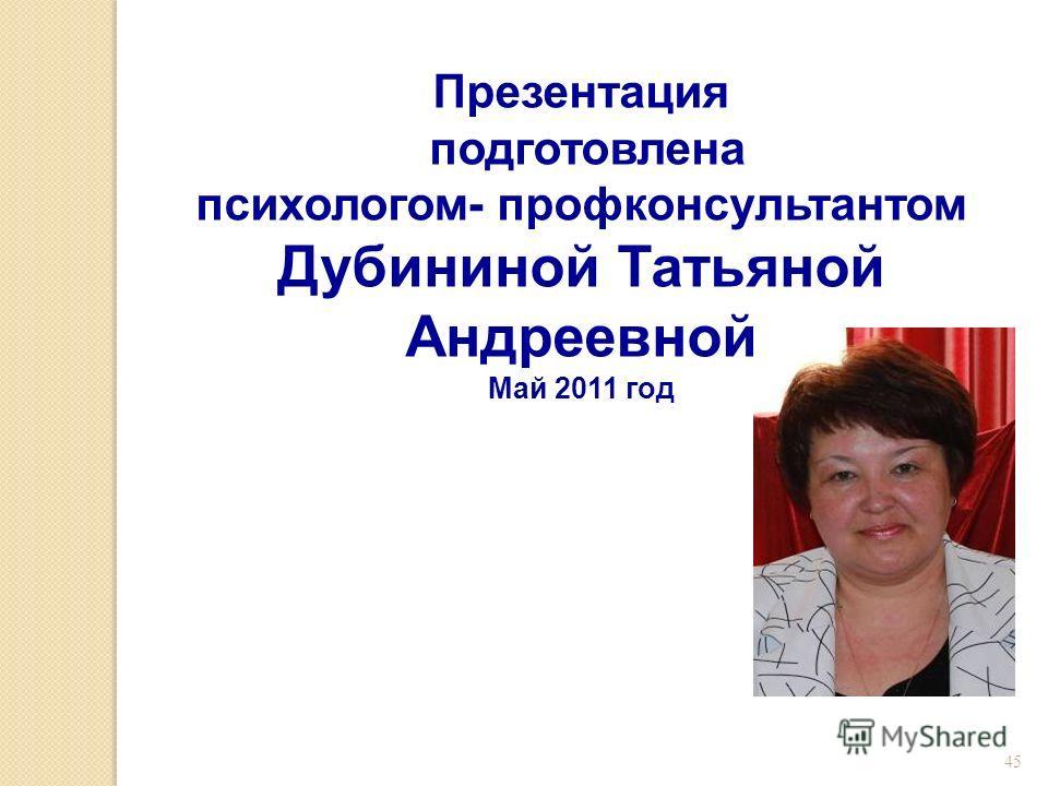 45 Презентация подготовлена психологом- профконсультантом Дубининой Татьяной Андреевной Май 2011 год