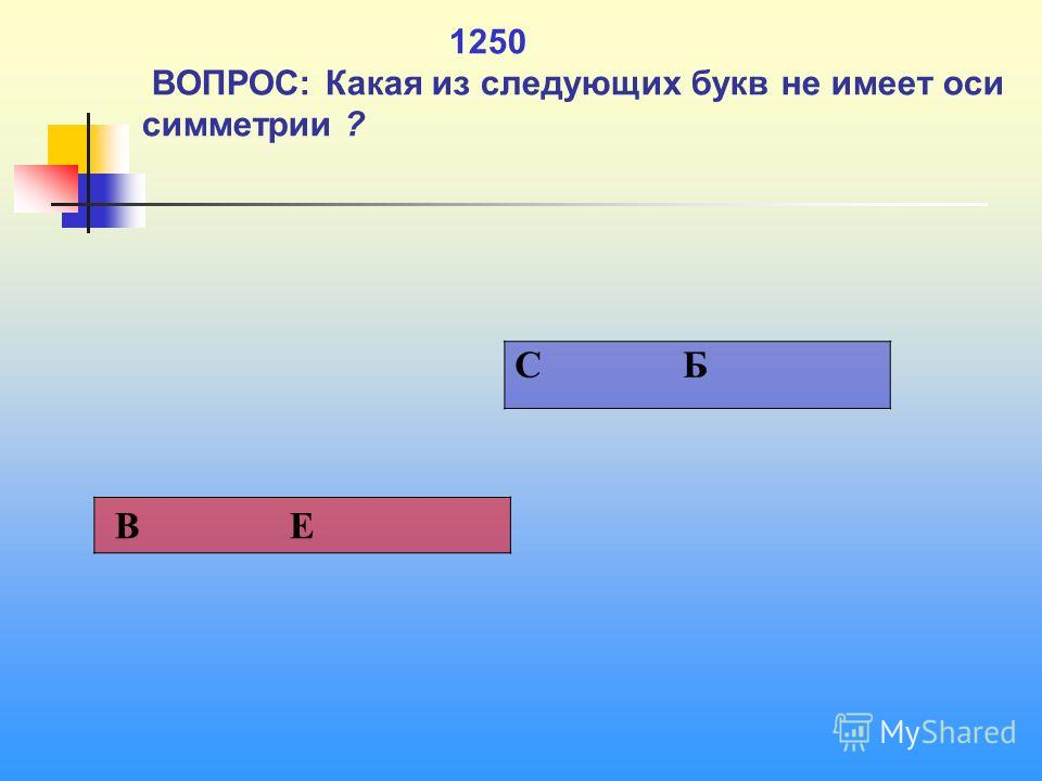 1 1250 ВОПРОС: Какая из следующих букв не имеет оси симметрии ? C Б В Е