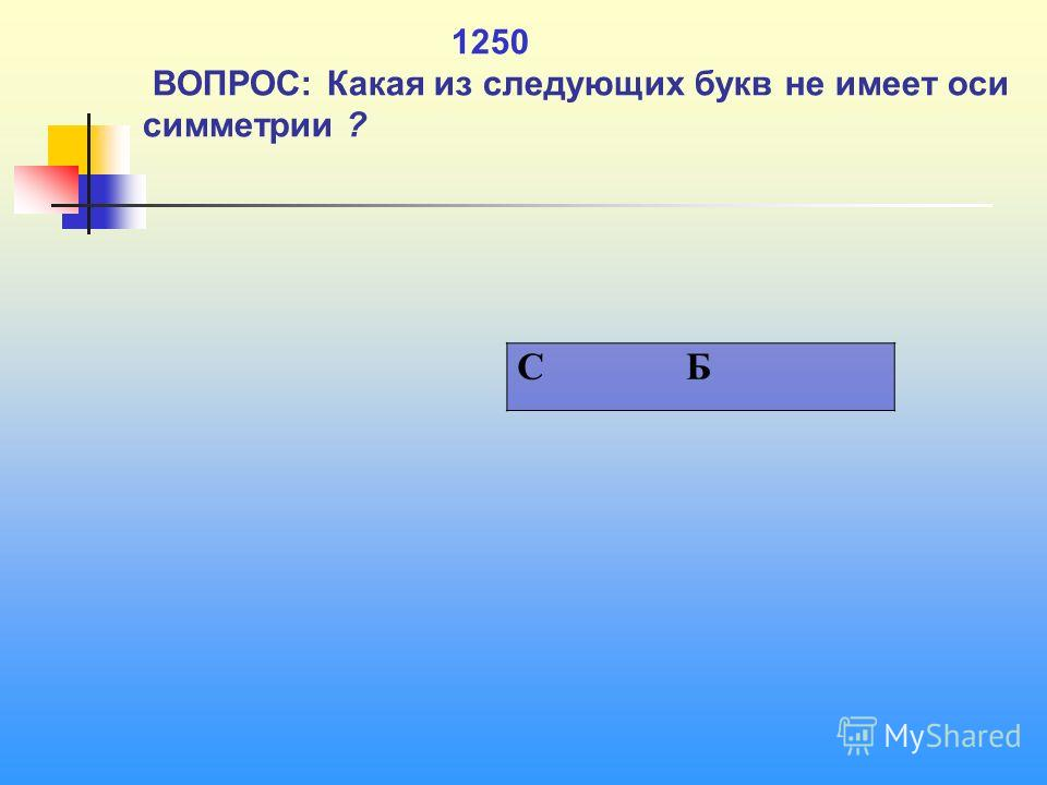 1 1250 ВОПРОС: Какая из следующих букв не имеет оси симметрии ? C Б