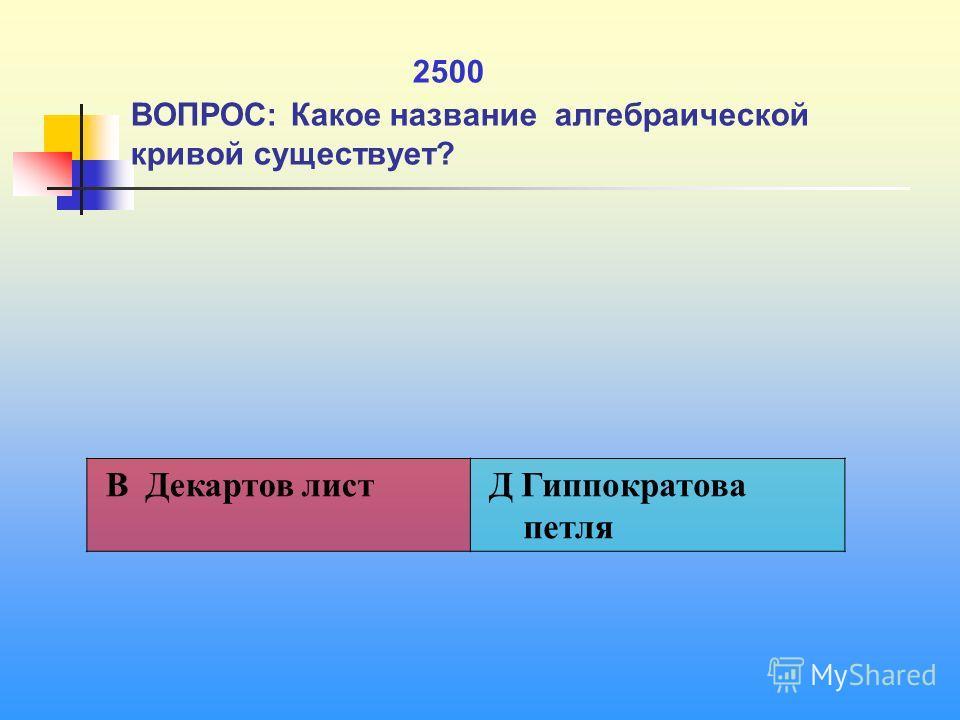 1 2500 ВОПРОС: Какое название алгебраической кривой существует? В Декартов лист Д Гиппократова петля