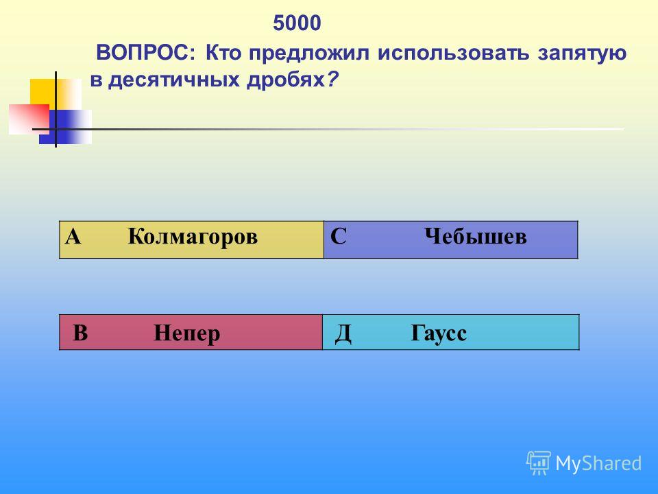 1 5000 ВОПРОС: Кто предложил использовать запятую в десятичных дробях? A Колмагоров C Чебышев В Непер Д Гаусс