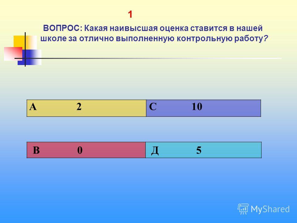 1 1 ВОПРОС: Какая наивысшая оценка ставится в нашей школе за отлично выполненную контрольную работу? A 2 C 10 В 0 Д 5