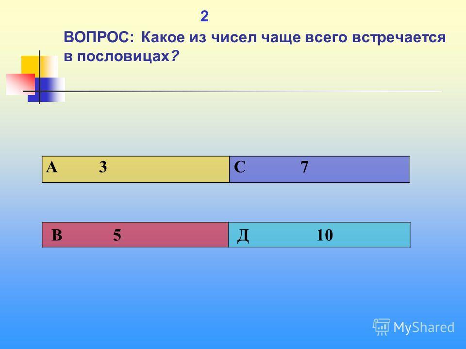 1 2 ВОПРОС: Какое из чисел чаще всего встречается в пословицах? A 3 C 7 В 5 Д 10