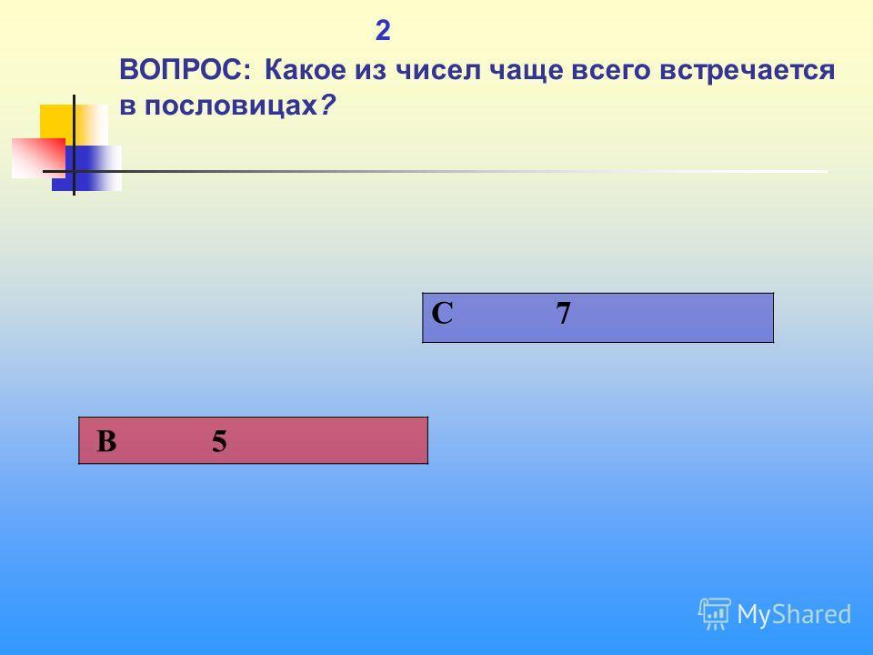 1 2 ВОПРОС: Какое из чисел чаще всего встречается в пословицах? C 7 В 5
