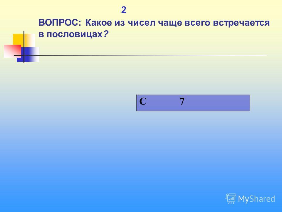 1 2 ВОПРОС: Какое из чисел чаще всего встречается в пословицах? C 7