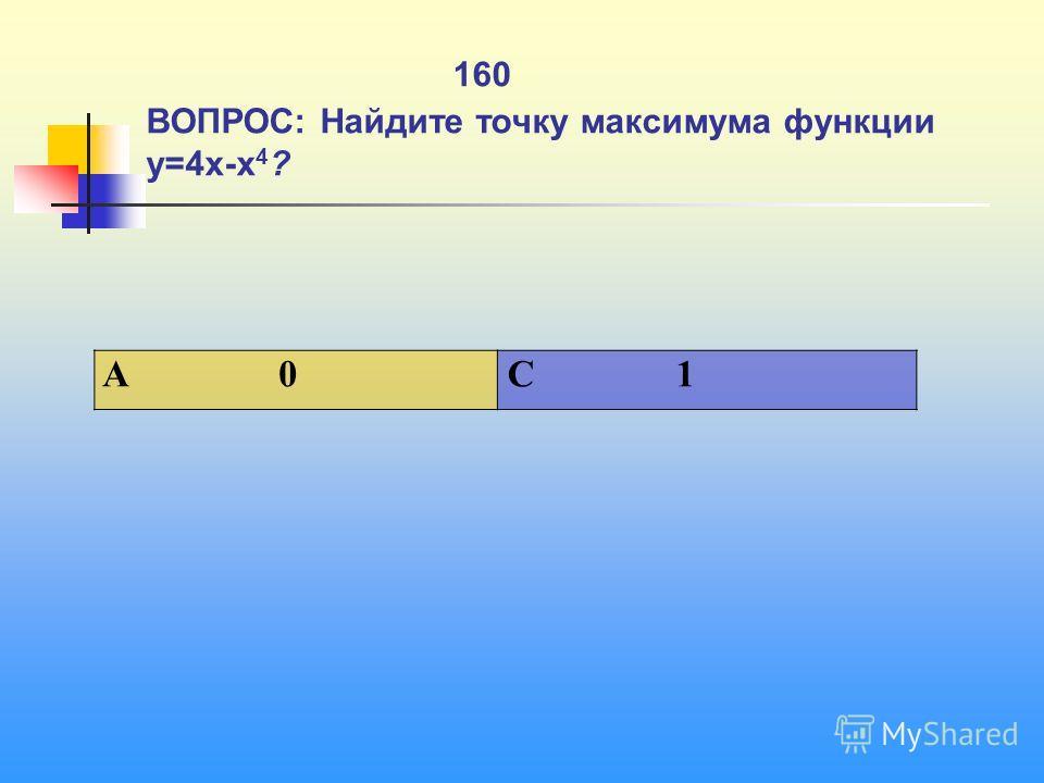 1 160 ВОПРОС: Найдите точку максимума функции y=4x-x 4 ? A 0 C 1