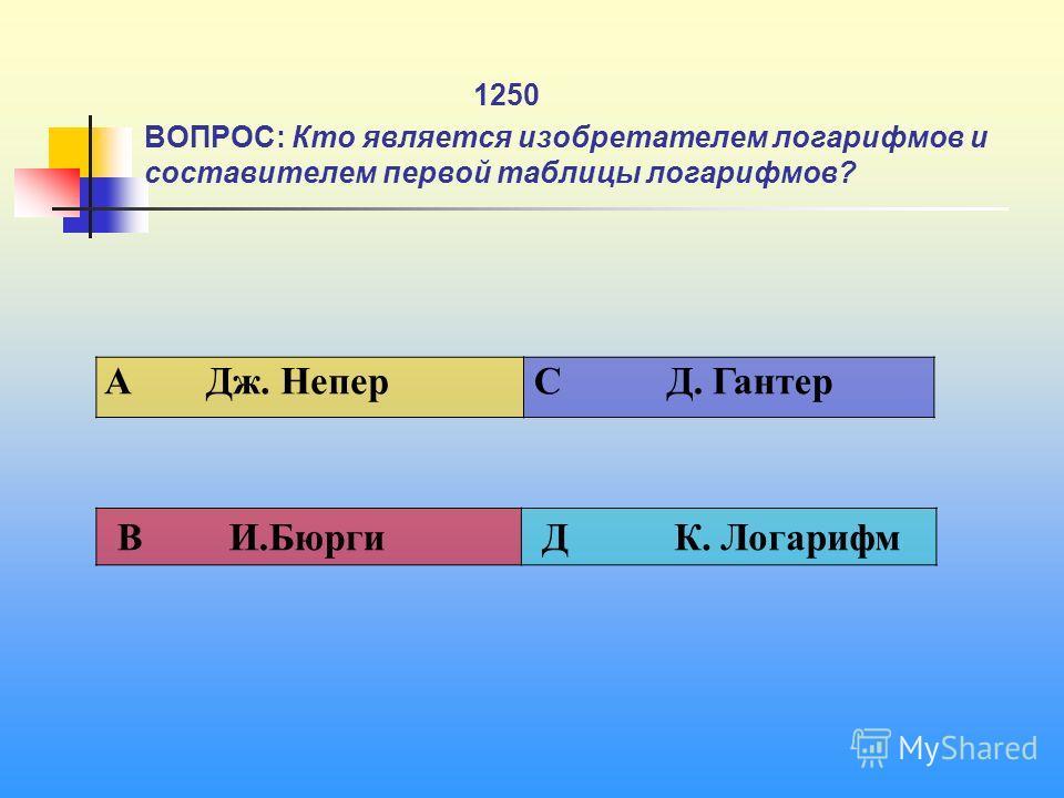 1 1250 ВОПРОС: Кто является изобретателем логарифмов и составителем первой таблицы логарифмов? A Дж. Непер C Д. Гантер В И.Бюрги Д К. Логарифм