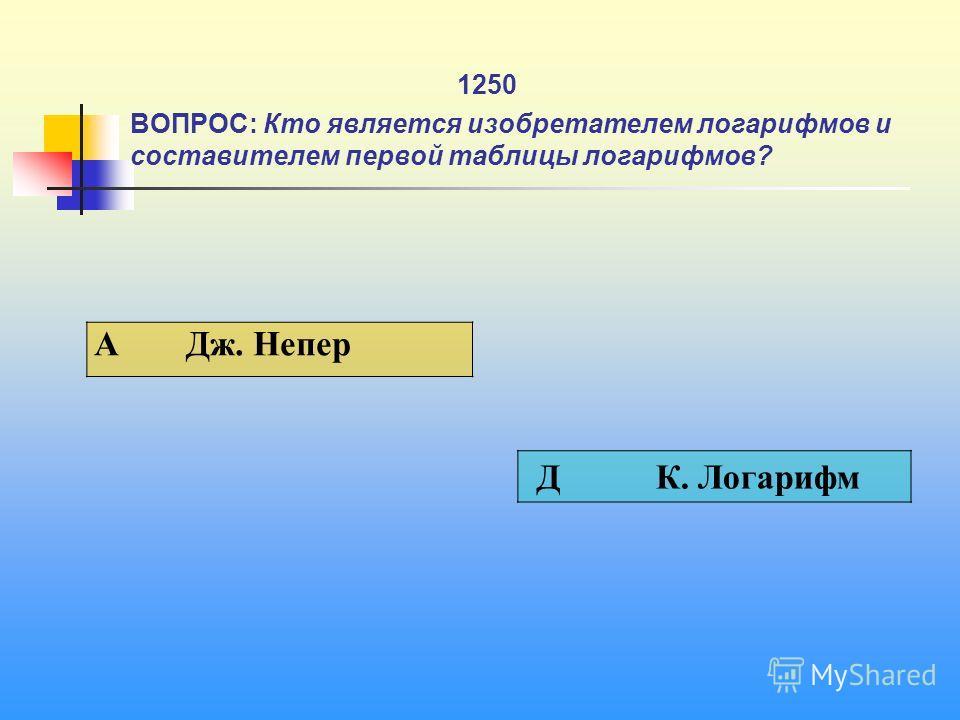 1 1250 ВОПРОС: Кто является изобретателем логарифмов и составителем первой таблицы логарифмов? A Дж. Непер Д К. Логарифм