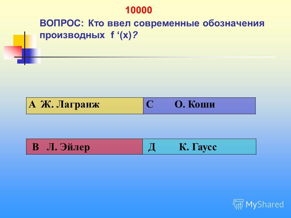 1 10000 ВОПРОС: Кто ввел современные обозначения производных f (х)? A Ж. Лагранж C О. Коши В Л. Эйлер Д К. Гаусс
