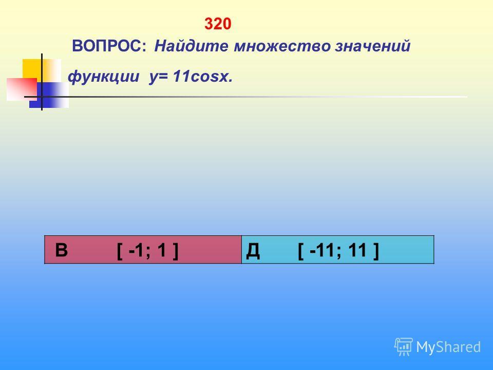 320 ВОПРОС: Найдите множество значений функции y= 11cosx. В [ -1; 1 ]Д [ -11; 11 ]