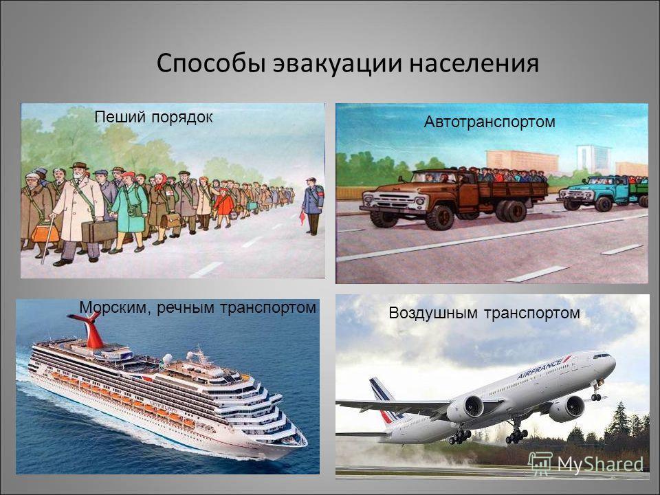 Способы эвакуации населения Пеший порядок Автотранспортом Морским, речным транспортом Воздушным транспортом