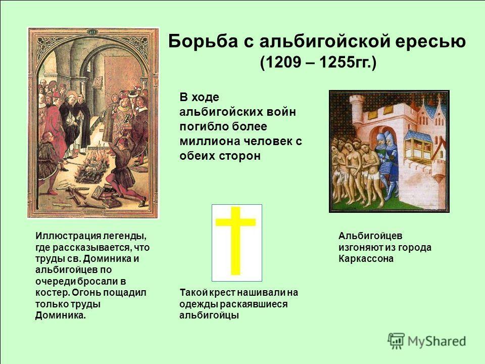 Иллюстрация легенды, где рассказывается, что труды св. Доминика и альбигойцев по очереди бросали в костер. Огонь пощадил только труды Доминика. Борьба с альбигойской ересью (1209 – 1255 гг.) В ходе альбигойских войн погибло более миллиона человек с о