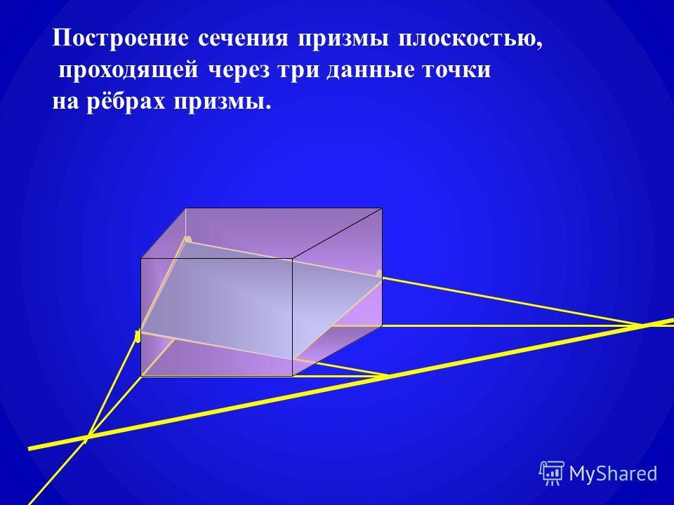 Построение сечения призмы плоскостью, проходящей через три данные точки на рёбрах призмы.