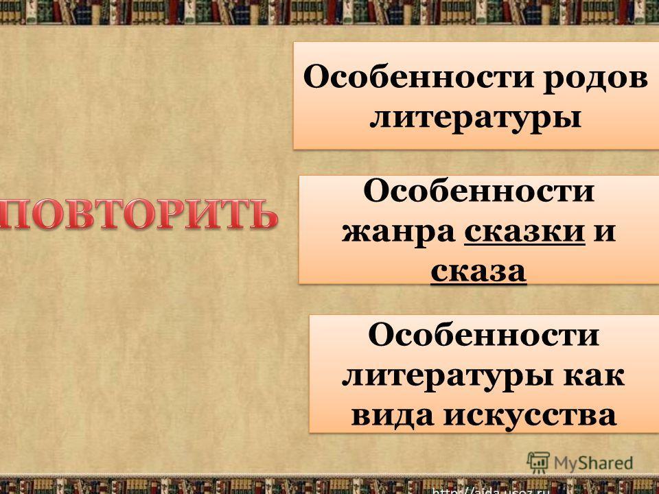 Особенности родов литературы Особенности жанра сказки и сказа Особенности литературы как вида искусства