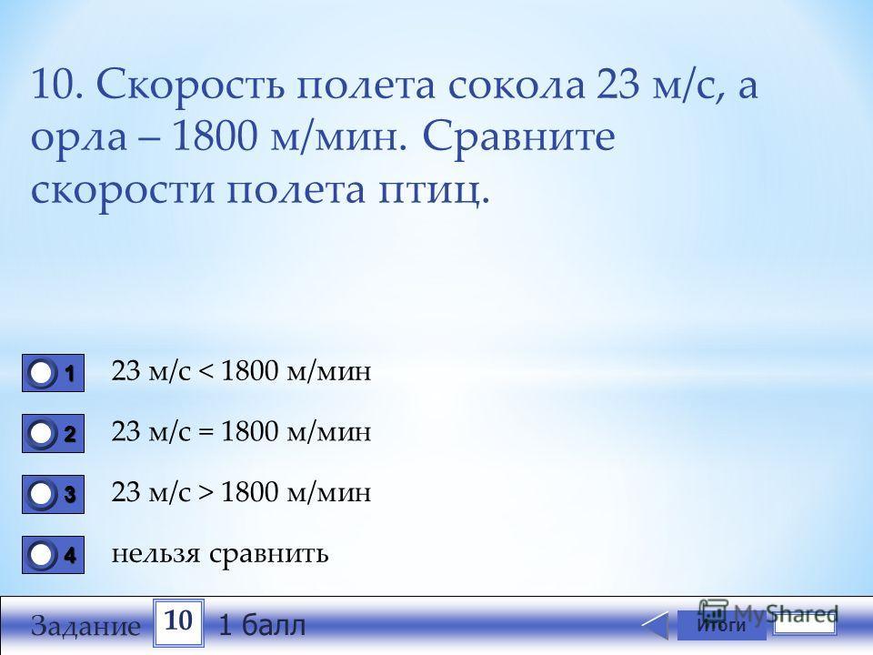 10. Скорость полета сокола 23 м/с, а орла – 1800 м/мин. Сравните скорости полета птиц. 23 м/с < 1800 м/мин 23 м/с = 1800 м/мин 23 м/с > 1800 м/мин нельзя сравнить Итоги 1111 0 2222 0 3333 0 4444 0 10 Задание 1 балл