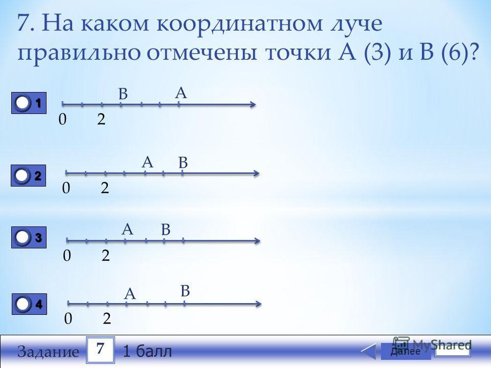 7. На каком координатном луче правильно отмечены точки А (3) и В (6)? Далее 1111 0 2222 0 3333 0 4444 0 02 В А 02 А В 02 02 А А В В 7 Задание 1 балл