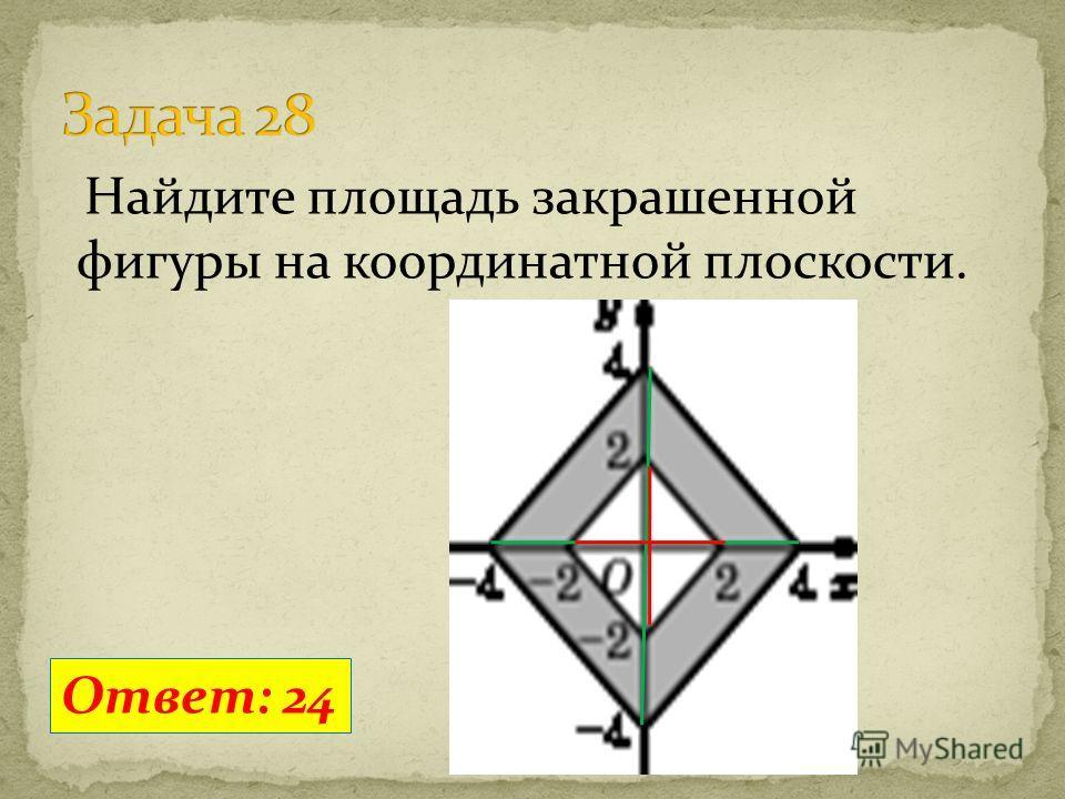 Найдите площадь закрашенной фигуры на координатной плоскости. Ответ: 24