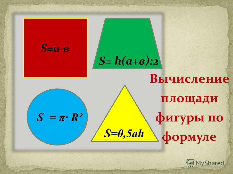 S=а·в S=0,5ah S= h(а+в):2 S = π R² Вычисление площади фигуры по формуле
