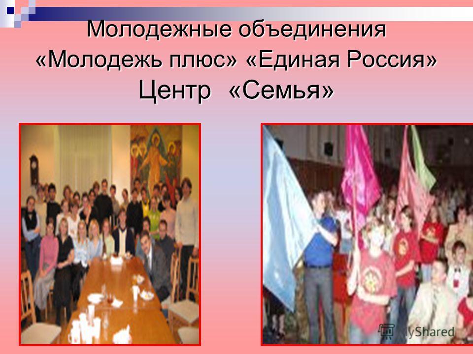 Молодежные объединения «Молодежь плюс» «Единая Россия» Центр «Семья»