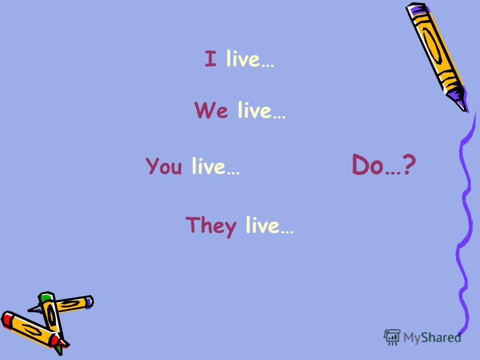 I live… We live… You live… Do…? They live…