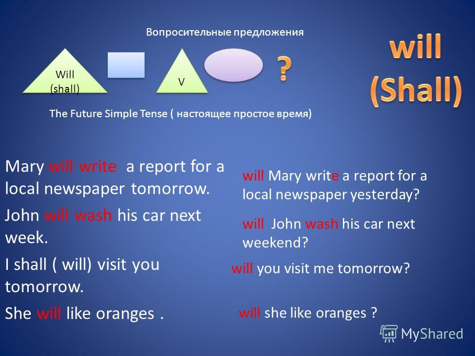 Вопросительные предложения Will (shall) V V The Future Simple Tense ( настоящее простое время) Mary will write a report for a local newspaper tomorrow. John will wash his car next week. I shall ( will) visit you tomorrow. She will like oranges. will