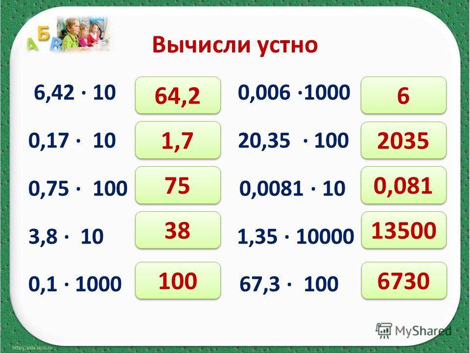 Вычисли устно 6,42 10 0,006 1000 0,17 10 20,35 100 0,75 100 0,0081 10 3,8 10 1,35 10000 0,1 1000 67,3 100 64,2 1,7 75 38 100 6 6 2035 0,081 13500 6730