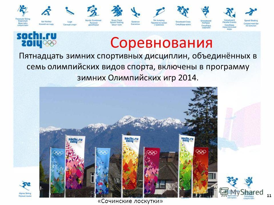 Пятнадцать зимних спортивных дисциплин, объединённых в семь олимпийских видов спорта, включены в программу зимних Олимпийских игр 2014. 11 Соревнования «Сочинские лоскутки»