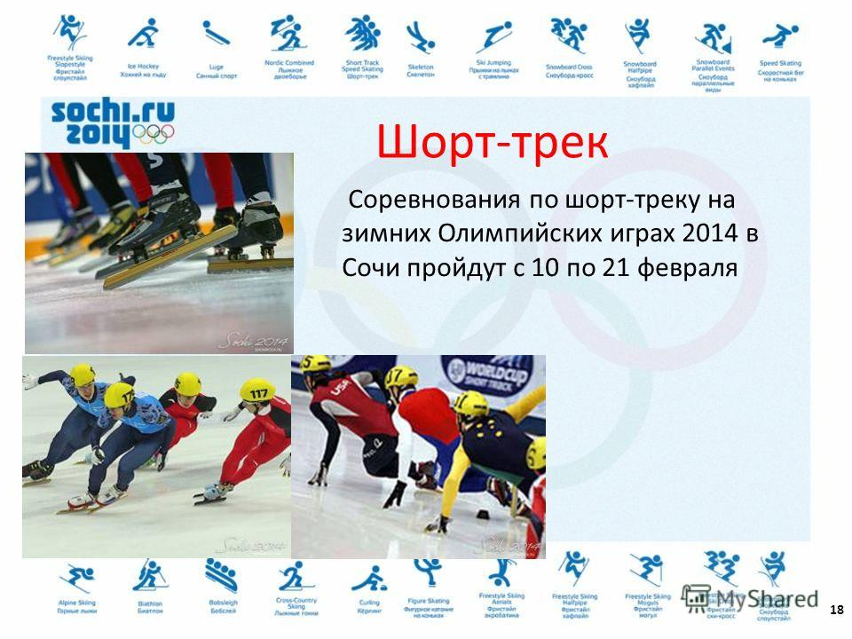 18 Шорт-трек Соревнования по шорт-треку на зимних Олимпийских играх 2014 в Сочи пройдут с 10 по 21 февраля