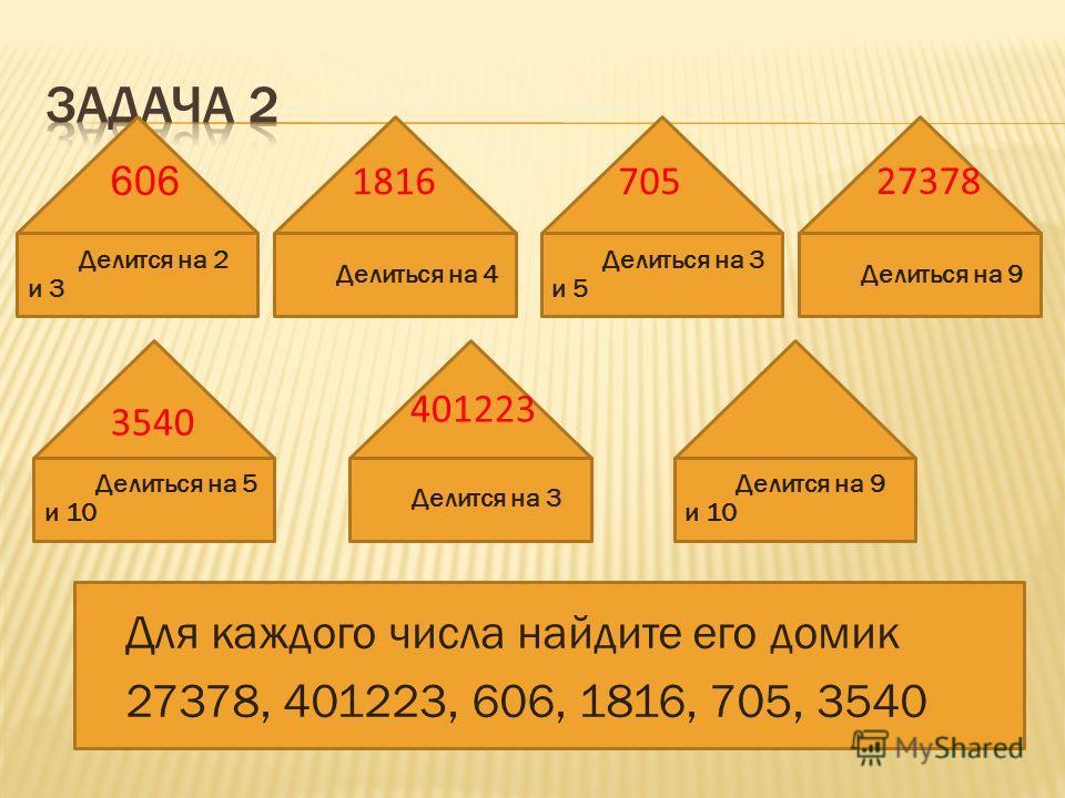 Делиться на 5 и 10 Для каждого числа найдите его домик 27378, 401223, 606, 1816, 705, 3540 Делится на 2 и 3 Делиться на 4 Делиться на 3 и 5 Делиться на 9 Делится на 9 и 10 Делится на 3 401223 27378 606 1816705 3540
