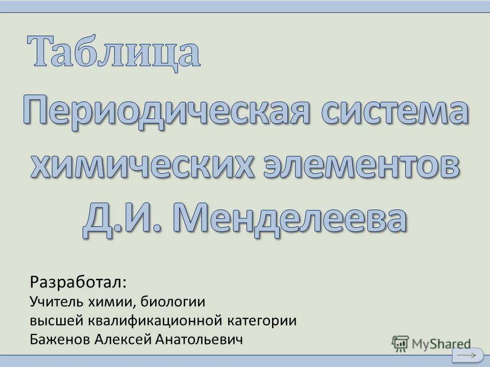 Разработал: Учитель химии, биологии высшей квалификационной категории Баженов Алексей Анатольевич