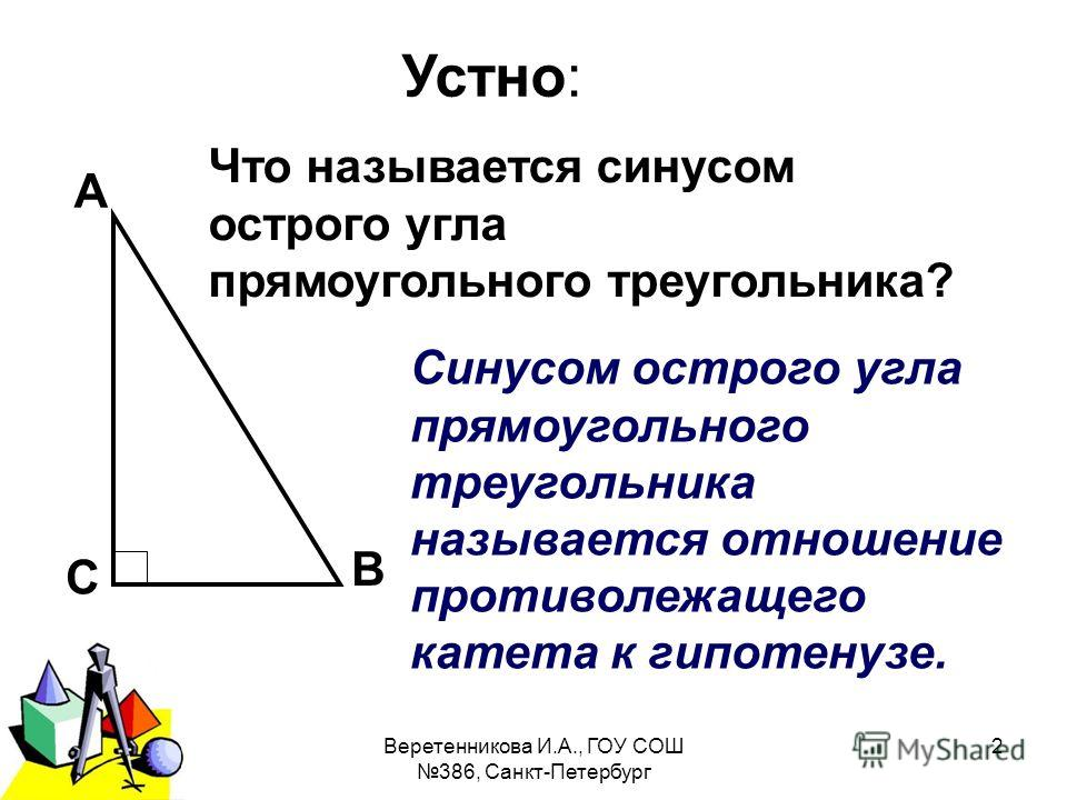 2011 г.Веретенникова И.А., ГОУ СОШ 386, Санкт-Петербург 2 Устно: А В С Что называется синусом острого угла прямоугольного треугольника? Синусом острого угла прямоугольного треугольника называется отношение противолежащего катета к гипотенузе.