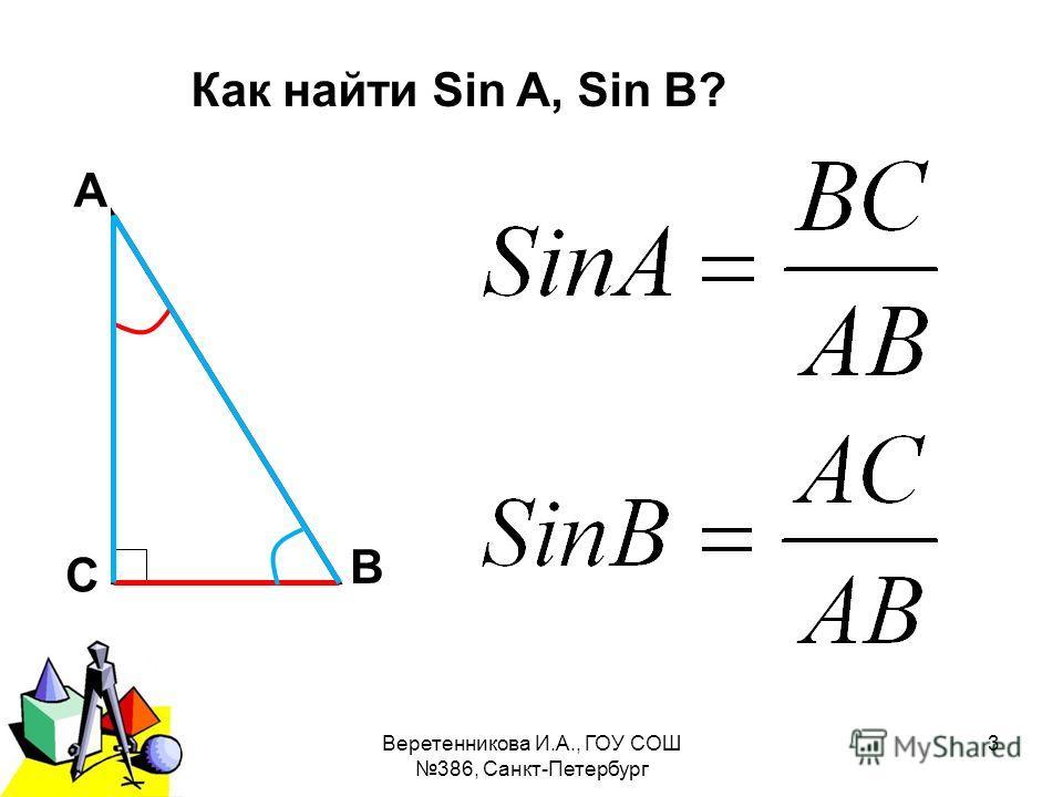 2011 г.Веретенникова И.А., ГОУ СОШ 386, Санкт-Петербург 3 А В С Как найти Sin A, Sin B?