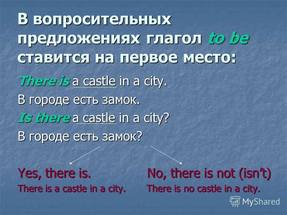 В вопросительных предложениях глагол to be ставится на первое место: There is a castle in a city. В городе есть замок. Is there a castle in a city? В городе есть замок? Yes, there is. No, there is not (isnt) There is a castle in a city. There is no c