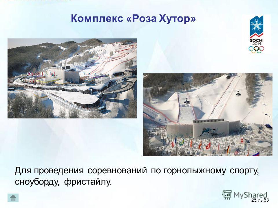Комплекс «Роза Хутор» Для проведения соревнований по горнолыжному спорту, сноуборду, фристайлу. 25 из 53