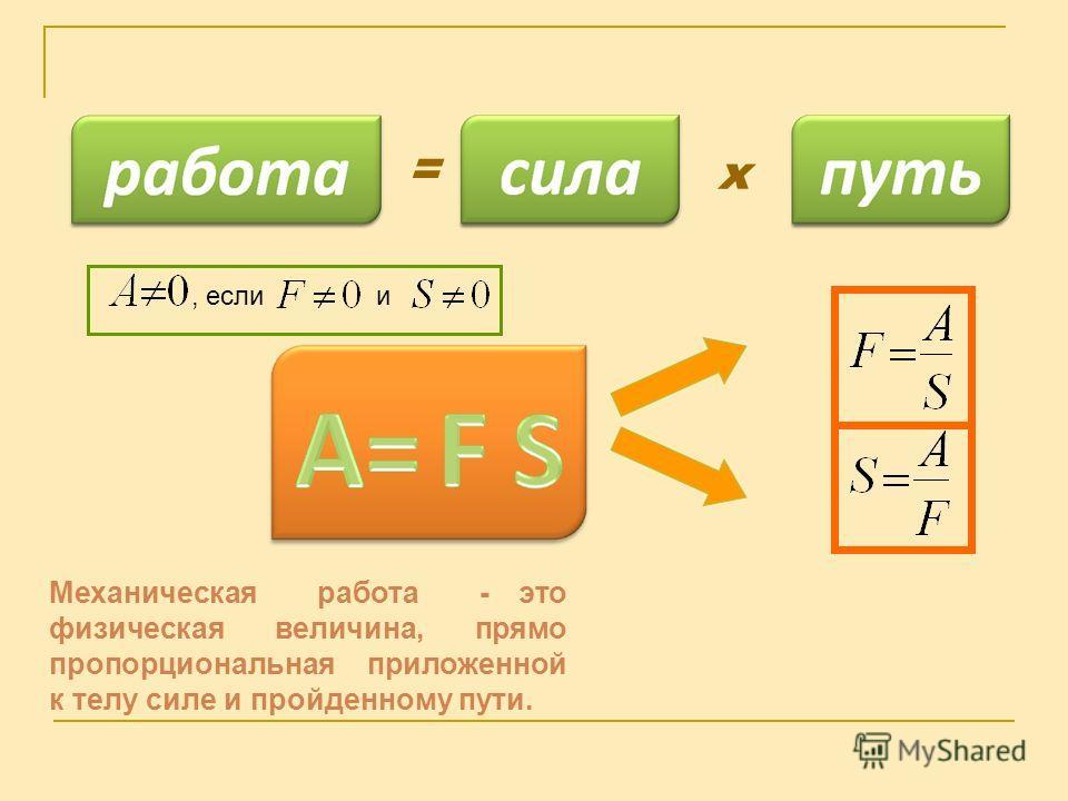 х = Механическая работа - это физическая величина, прямо пропорциональная приложенной к телу силе и пройденному пути., если