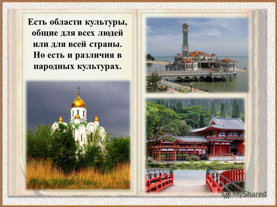 Есть области культуры, общие для всех людей или для всей страны. Но есть и различия в народных культурах.