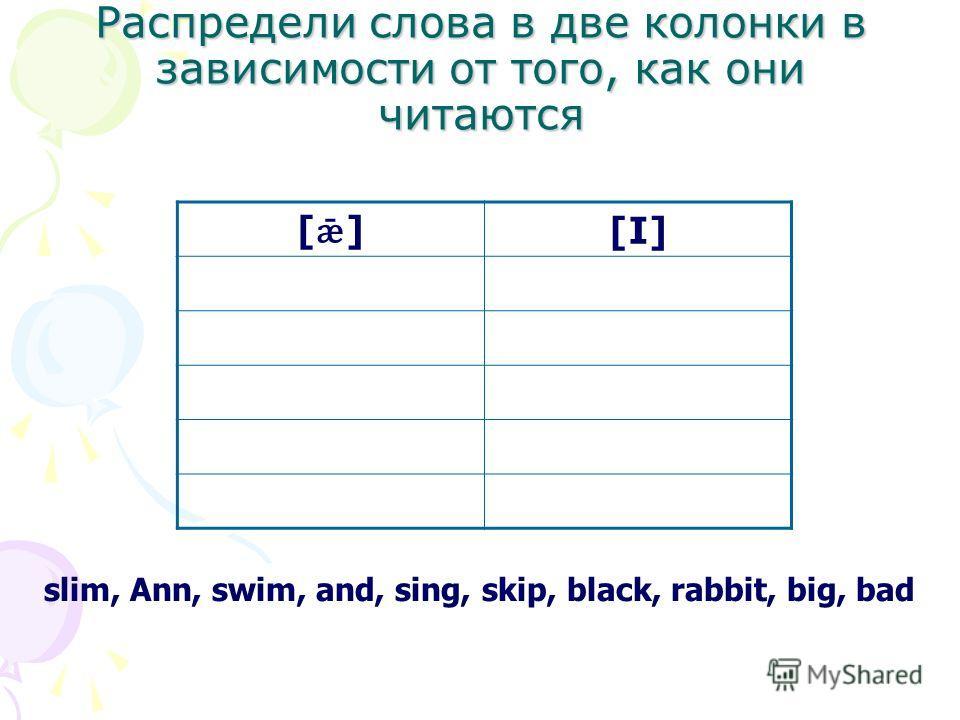 Распредели слова в две колонки в зависимости от того, как они читаются slim, Ann, swim, and, sing, skip, black, rabbit, big, bad [ǣ][ǣ] [I]