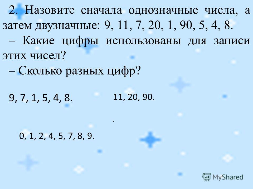 2. Назовите сначала однозначные числа, а затем двузначные: 9, 11, 7, 20, 1, 90, 5, 4, 8. – Какие цифры использованы для записи этих чисел? – Сколько разных цифр? 9, 7, 1, 5, 4, 8. 11, 20, 90.. 0, 1, 2, 4, 5, 7, 8, 9.