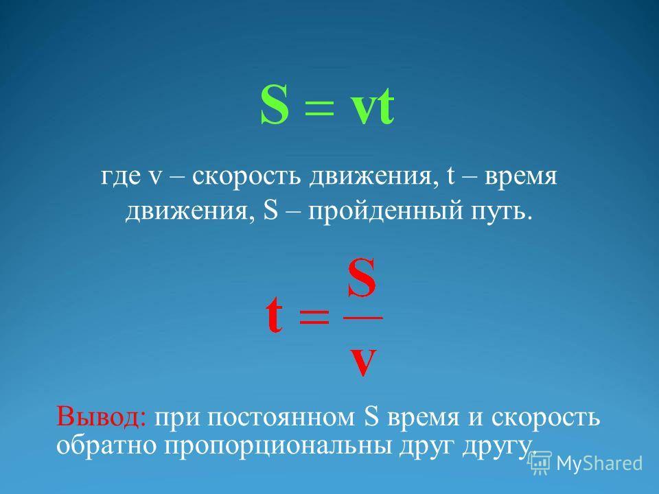 где v – скорость движения, t – время движения, S – пройденный путь. Вывод: при постоянном S время и скорость обратно пропорциональны друг другу.