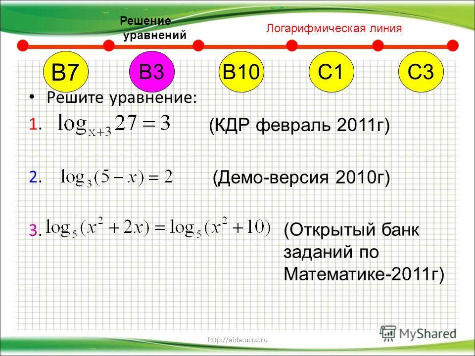 http://aida.ucoz.ru Решите уравнение: 1. 2. 3. В7 В10С1С3В3 (КДР февраль 2011 г) (Демо-версия 2010 г) (Открытый банк заданий по Математике-2011 г) Логарифмическая линия Решение уравнений