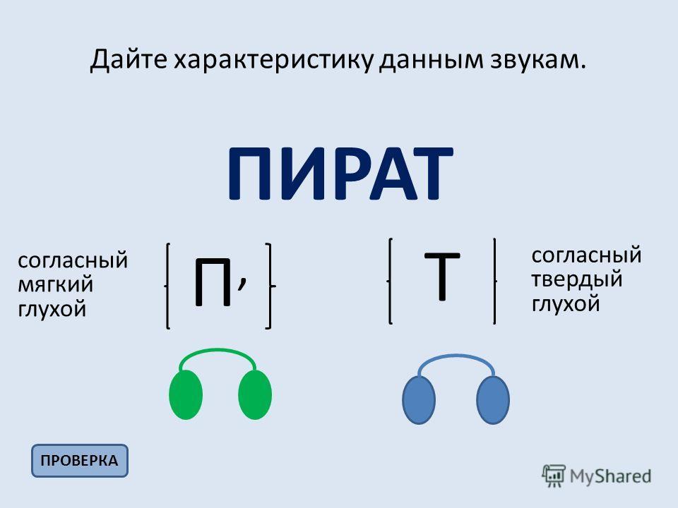 Дайте характеристику данным звукам. ПИРАТ ПРОВЕРКА П,П, Т согласный мягкий глухой согласный твердый глухой