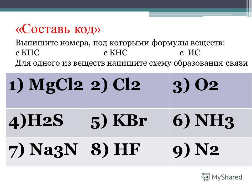 «Составь код» 1) MgCl22) Cl23) O2 4)H2S5) KBr6) NH3 7) Na3N8) HF9) N2 Выпишите номера, под которыми формулы веществ: с КПС с КНС с ИС Для одного из веществ напишите схему образования связи