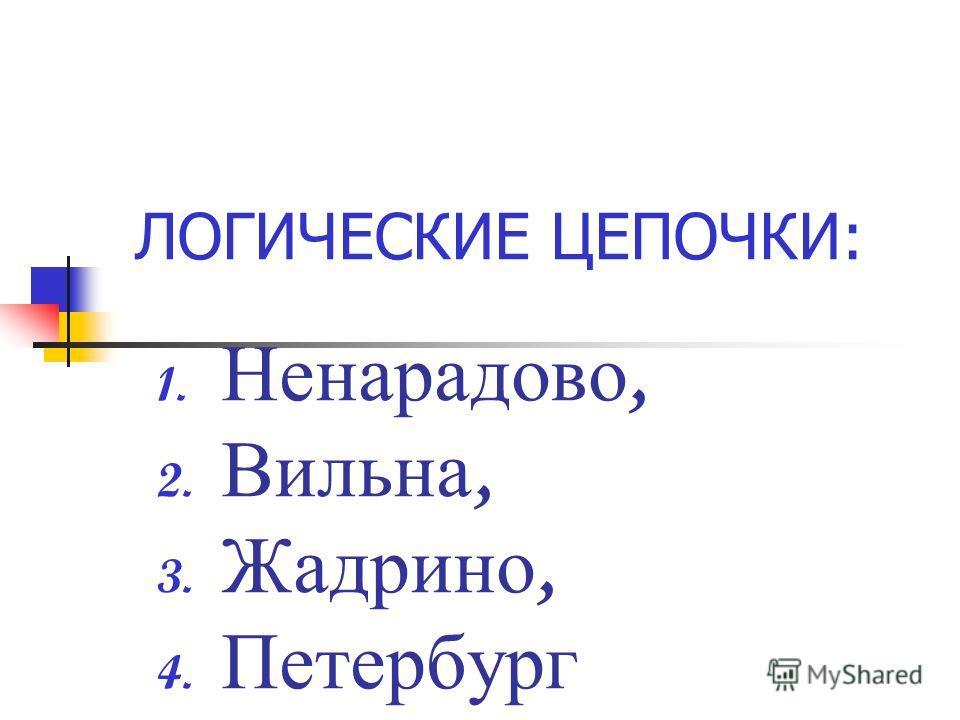 ЛОГИЧЕСКИЕ ЦЕПОЧКИ: 1. Ненарадово, 2. Вильна, 3. Жадрино, 4. Петербург
