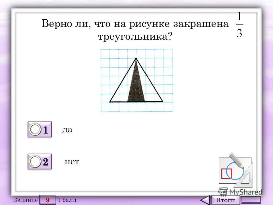 Итоги 9 Задание 1 балл 1111 1111 2222 2222 Верно ли, что на рисунке закрашена треугольника? да нет