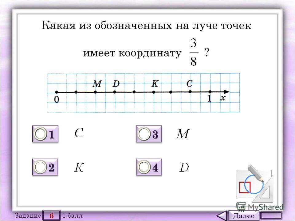 Далее 6 Задание 1 балл 1111 1111 2222 2222 3333 3333 4444 4444 Какая из обозначенных на луче точек имеет координату ?