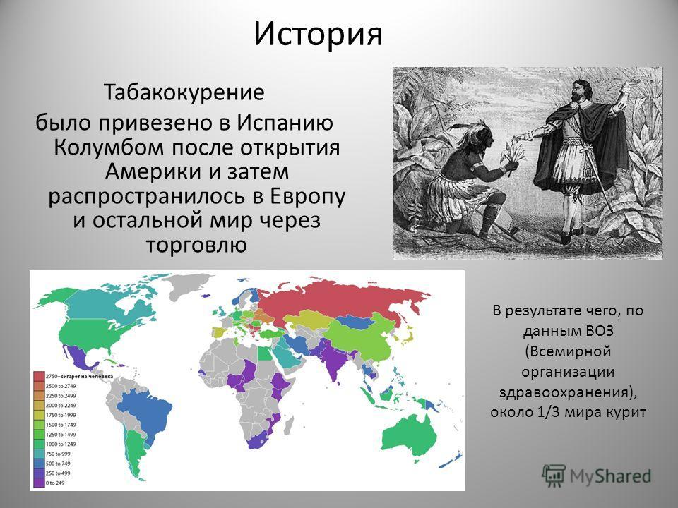 История Табакокуренее было привезено в Испанию Колумбойм после открытия Америки и затем распространилось в Европу и остальной мир через торговлю В результате чего, по данным ВОЗ (Всемирной организации здравоохранения), около 1/3 мира курит