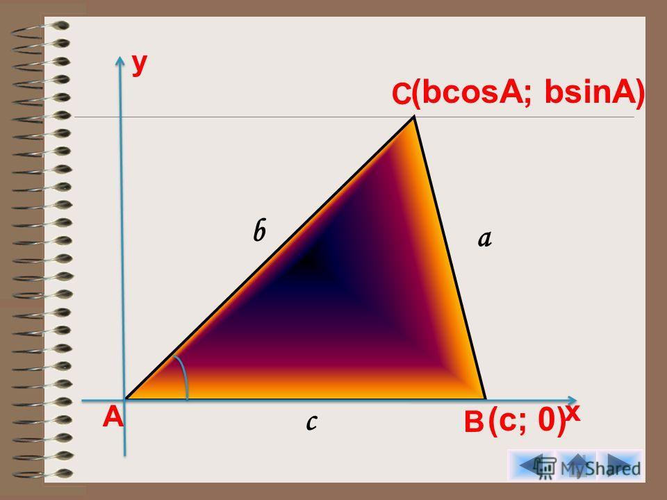 А С В (bcosA; bsinA) у х (с; 0) а b c