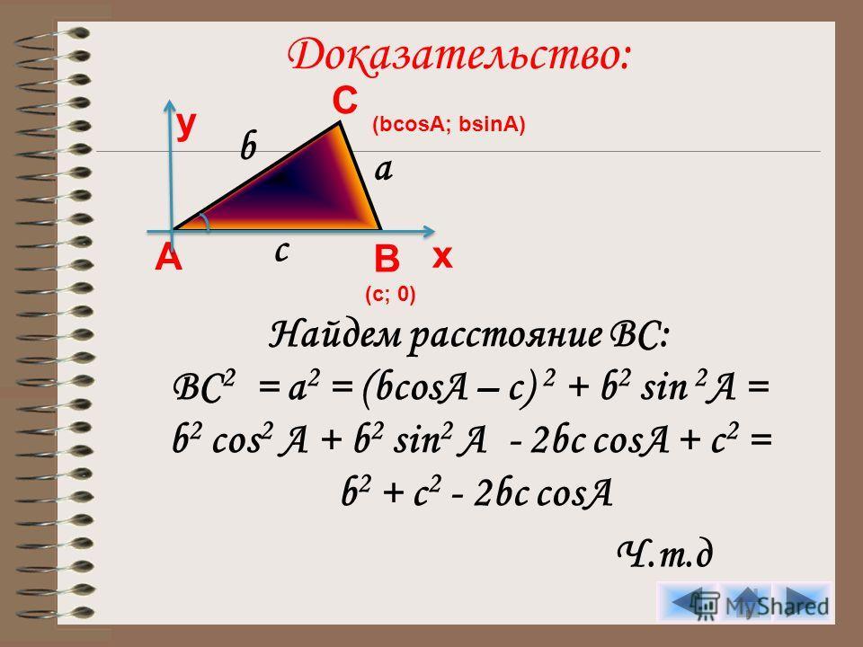 Доказательство: Найдем расстояние ВС: ВС 2 = а 2 = (bcosA – c) 2 + b 2 sin 2 A = b 2 cos 2 A + b 2 sin 2 A - 2bc cosA + c 2 = b 2 + c 2 - 2bc cosA Ч.т.д А С В (bcosA; bsinA) у х (с; 0) а b c